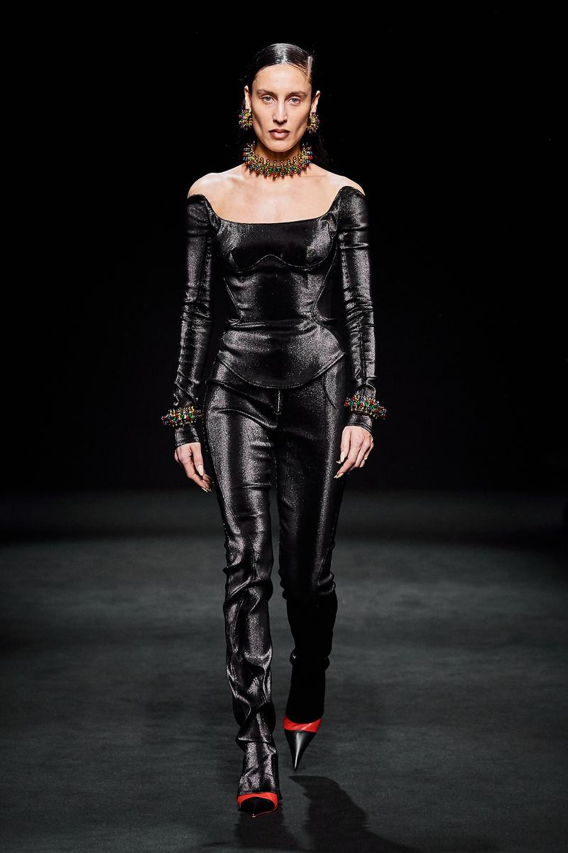 Mugler Fall/Winter Collection Runway Show Velvet Corset Pants Black