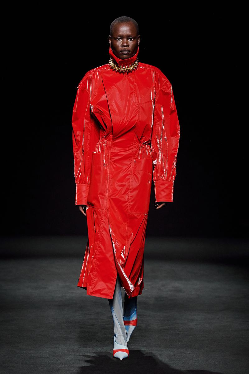Mugler Fall/Winter Collection Runway Patent Leather Coat Red