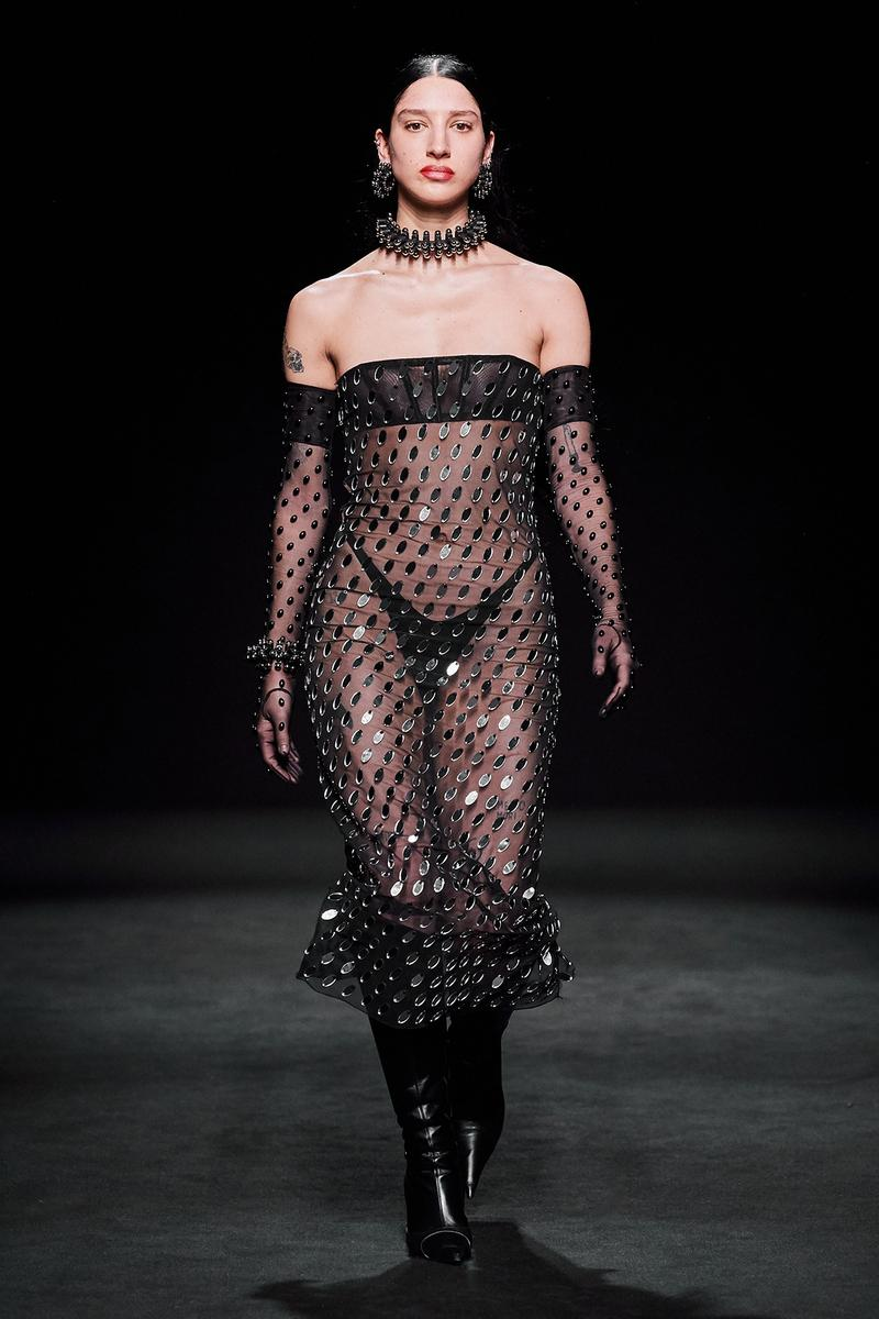 Mugler Fall/Winter Collection Runway Show Sheer Dress Sequin Pailettes Black