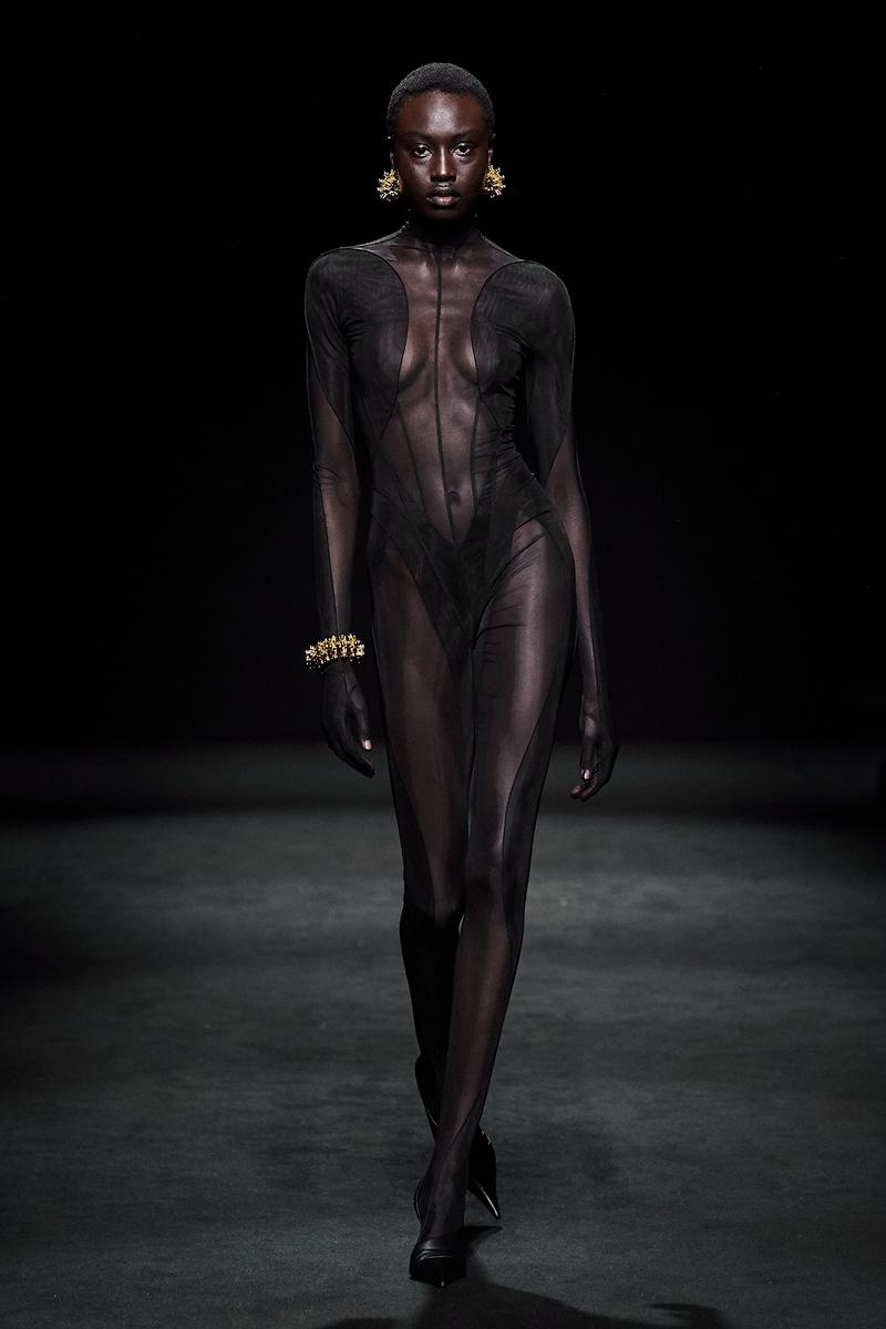 Mugler Fall/Winter Collection Runway Show Sheer Bodysuit Black