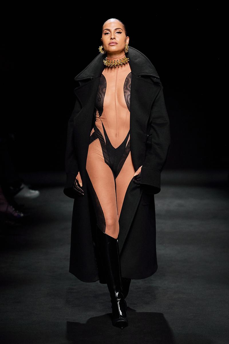 Mugler Fall/Winter Collection Runway Show Bodysuit Nude Black