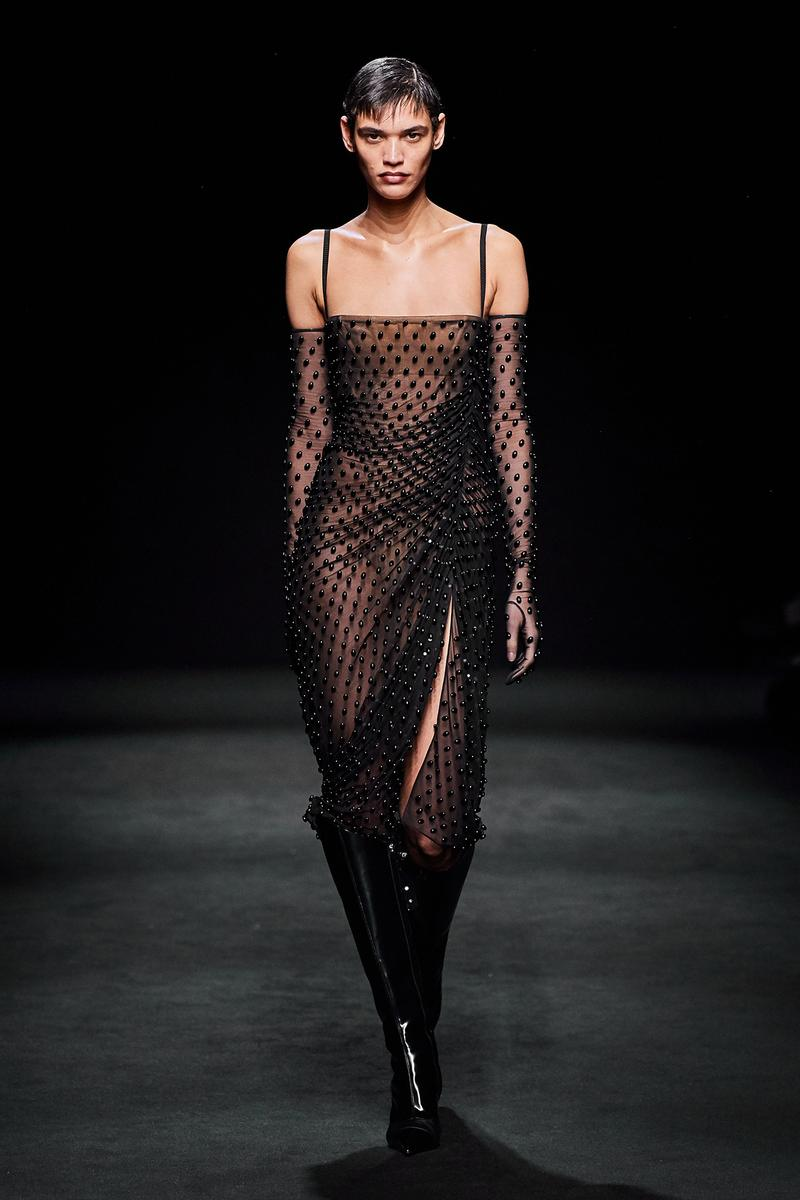 Mugler Fall/Winter Collection Runway Show Sheer Beaded Dress Black