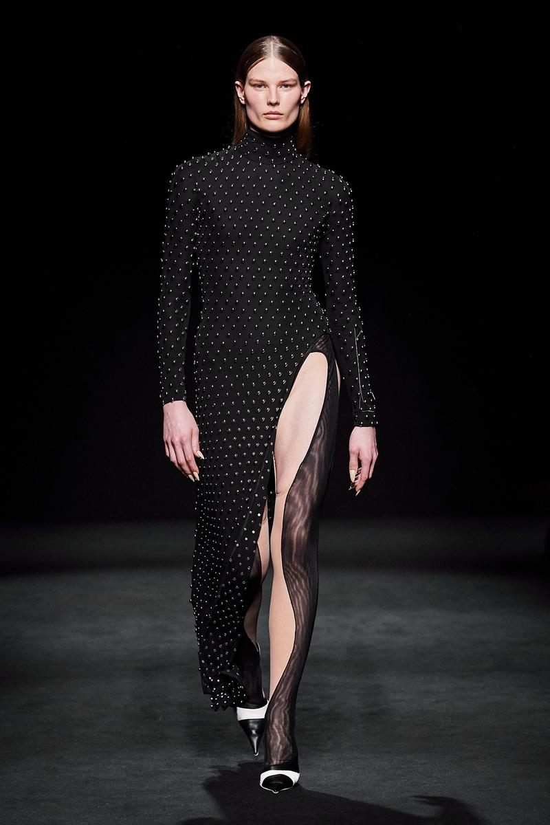 Mugler Fall/Winter Collection Runway Show Slit Dress Black