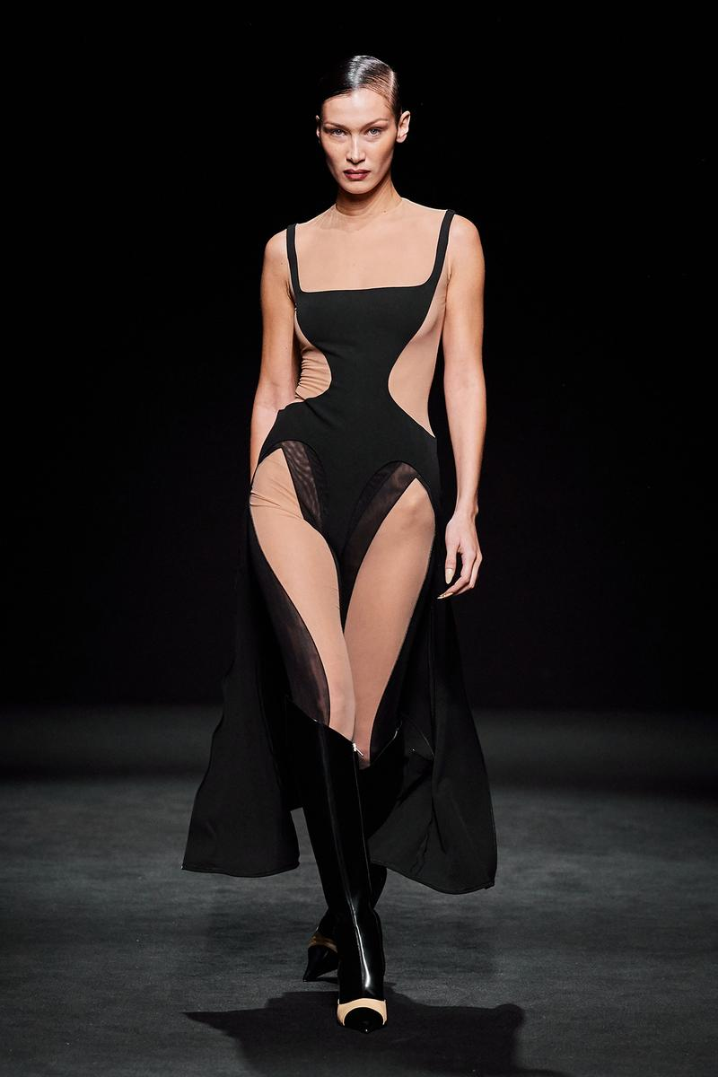 Mugler Fall/Winter Collection Runway Show Sheer Bodysuit Nude Black