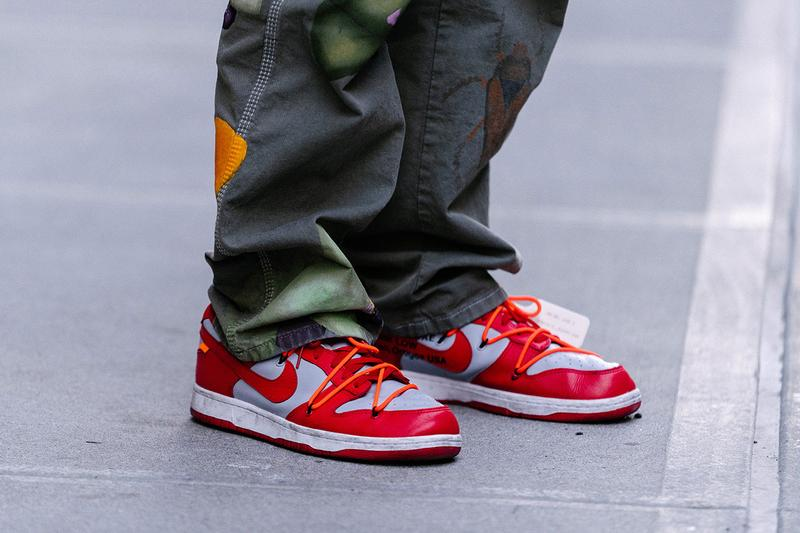 new york fashion week nyfw popular sneakers nike off-white dunk low university red