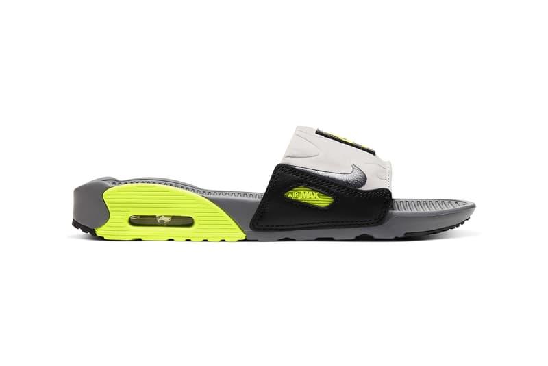 nike air max 90 slide sandal neon green black white grey shoes footwear sneakerhead