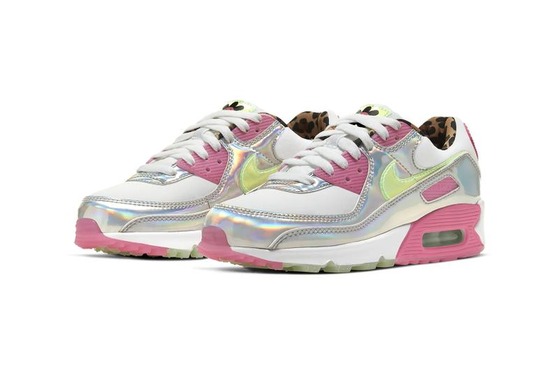 nike air max 90 womens sneakers pink fuchsia white green holographic silver metallic shoes footwear sneakerhead