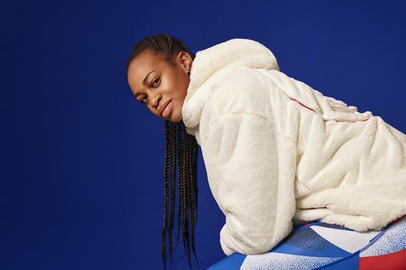 nike jordan brand paris saint germain collaboration womens jacket hoodie dress sportswear athleisure white red blue sneakers
