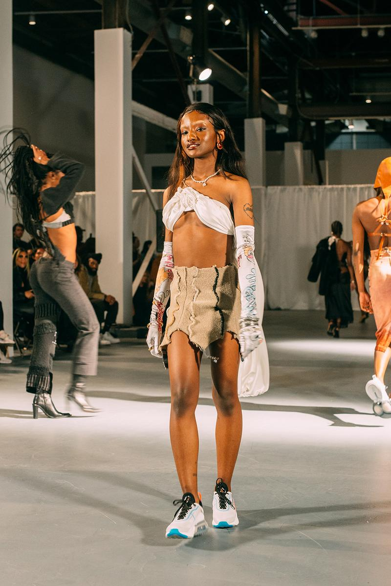 no sesso pierre davis arin hayes autumn randolph fall winter collection los angeles runway show bralette skirt gloves sneakers