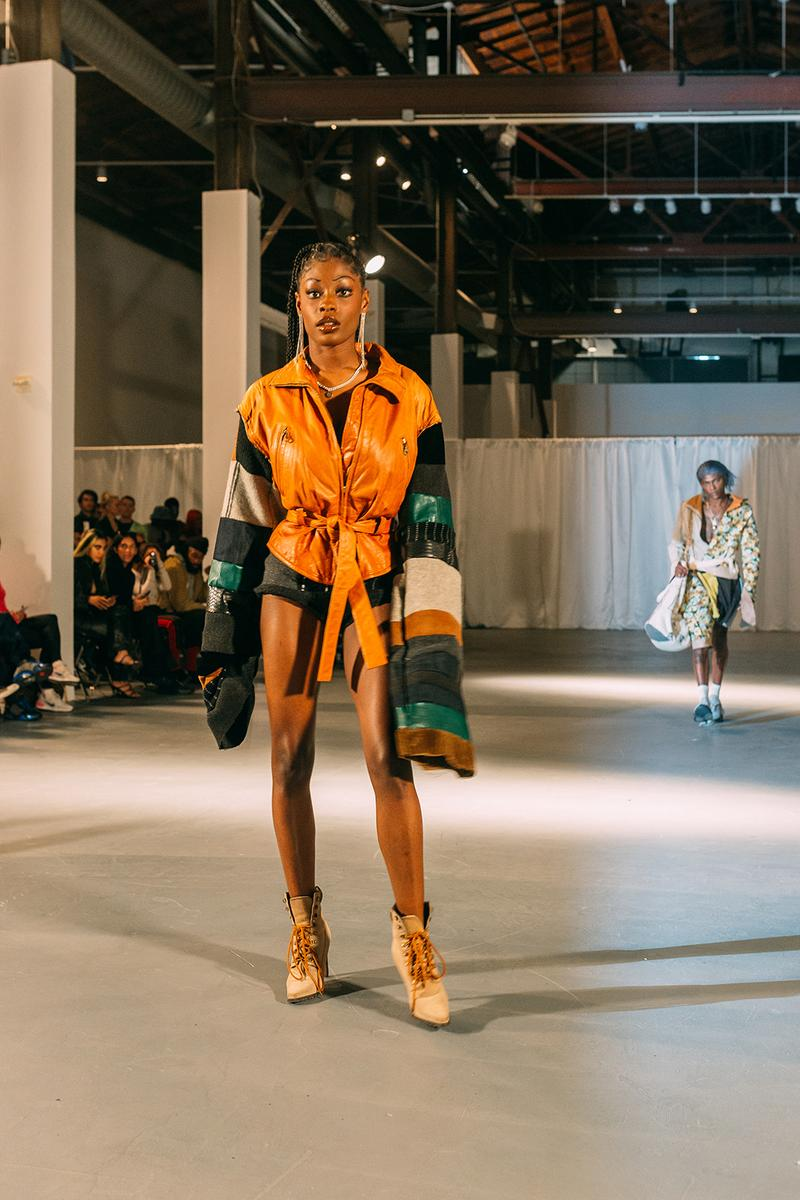 no sesso pierre davis arin hayes autumn randolph fall winter collection los angeles runway show jacket boots