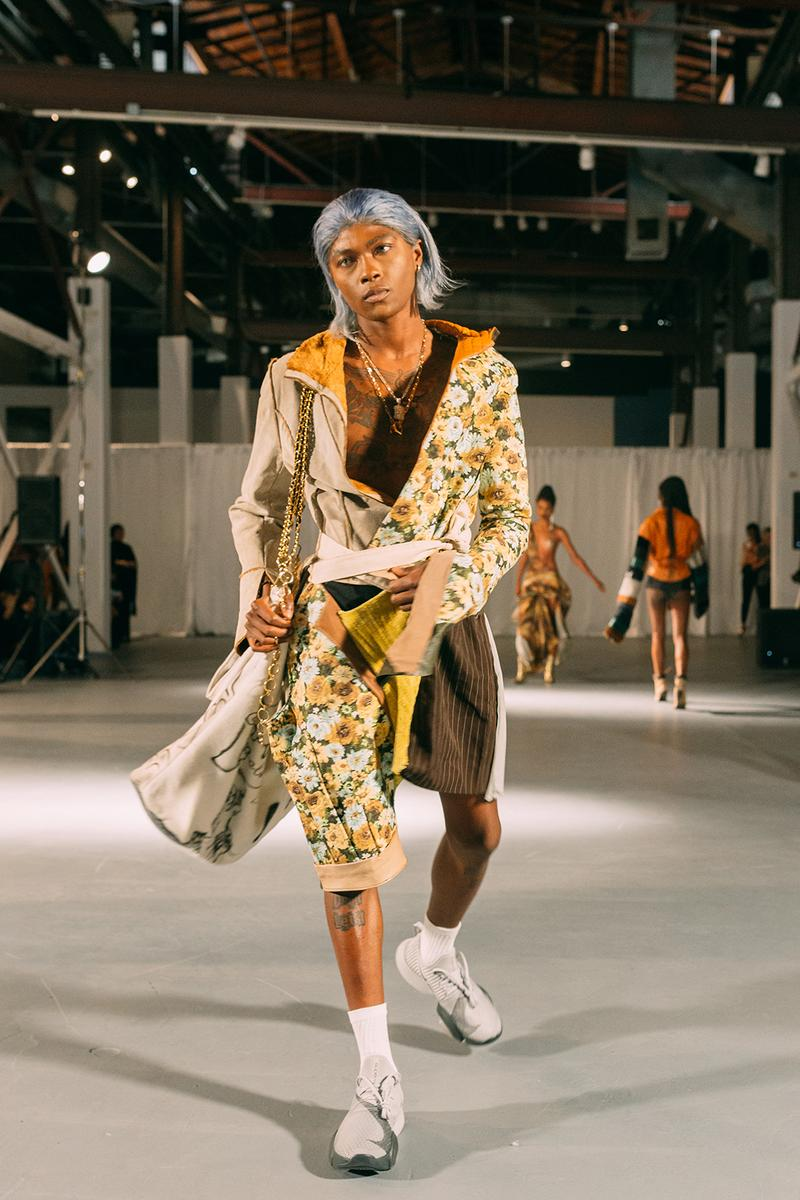no sesso pierre davis arin hayes autumn randolph fall winter collection los angeles runway show pants sneakers jacket
