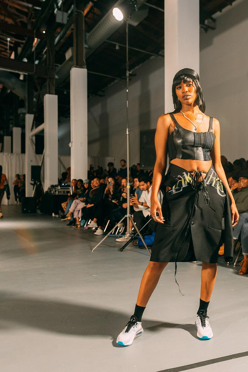 no sesso pierre davis arin hayes autumn randolph fall winter collection los angeles runway show crop top skirt sneakers