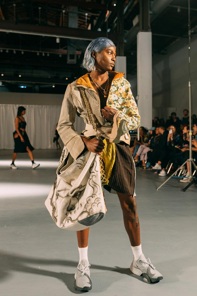no sesso pierre davis arin hayes autumn randolph fall winter collection los angeles runway show jacket bag sneakers