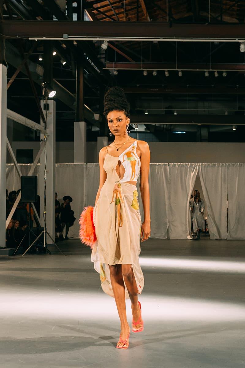 no sesso pierre davis arin hayes autumn randolph fall winter collection los angeles runway show silk brown dress heels