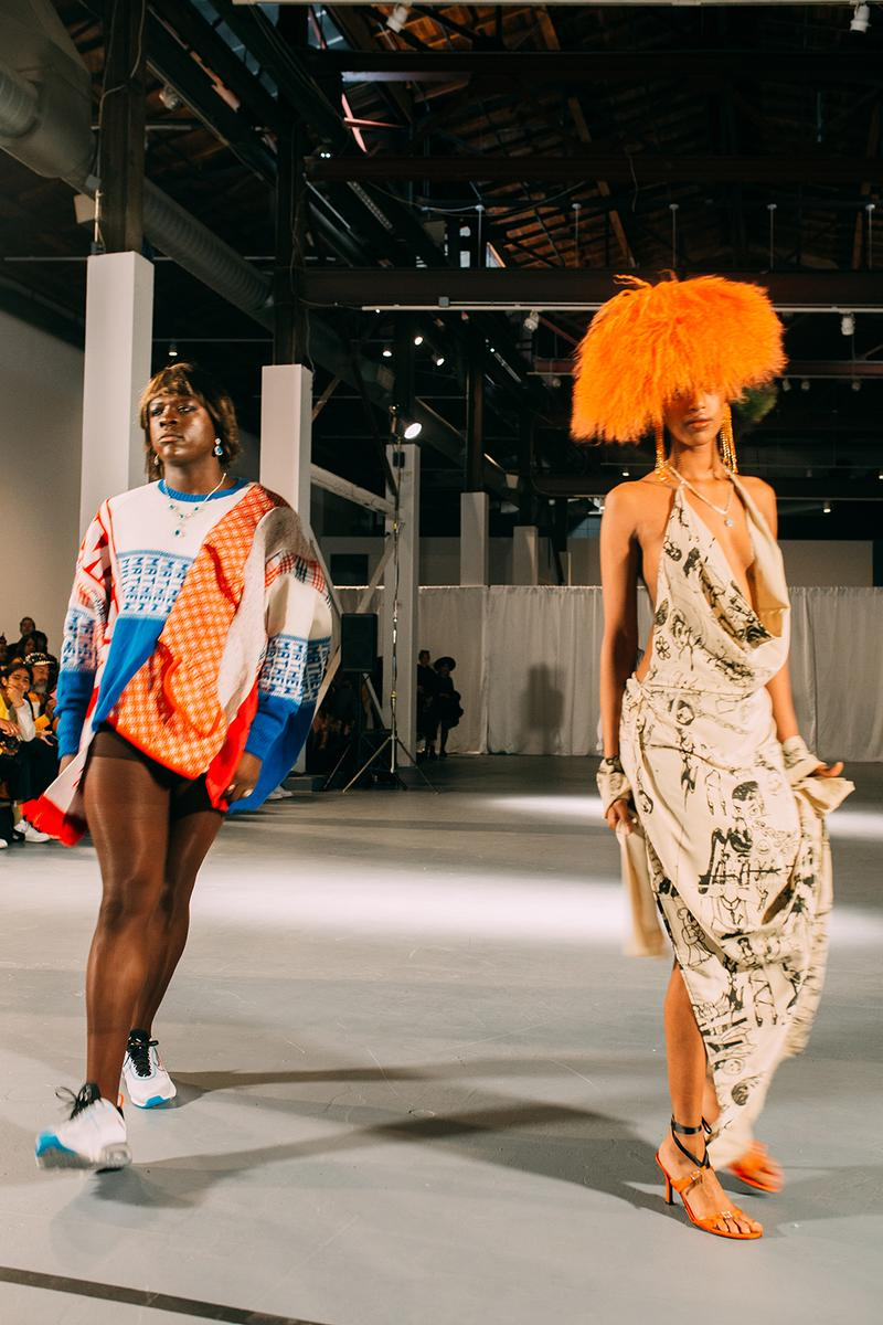 no sesso pierre davis arin hayes autumn randolph fall winter collection los angeles runway show silk dress sweater sneakers wig heels