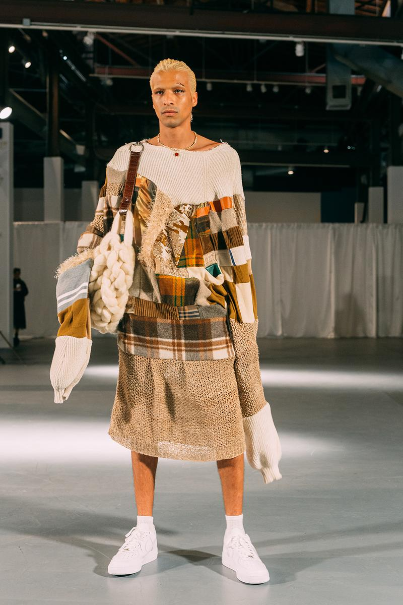 no sesso pierre davis arin hayes autumn randolph fall winter collection los angeles runway show sweater white sneakers