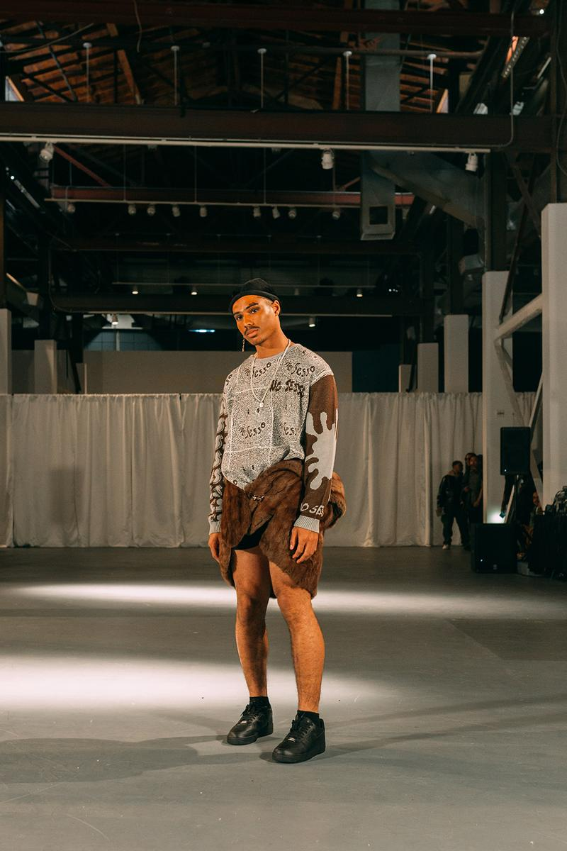 no sesso pierre davis arin hayes autumn randolph fall winter collection los angeles runway show sweater sneakers