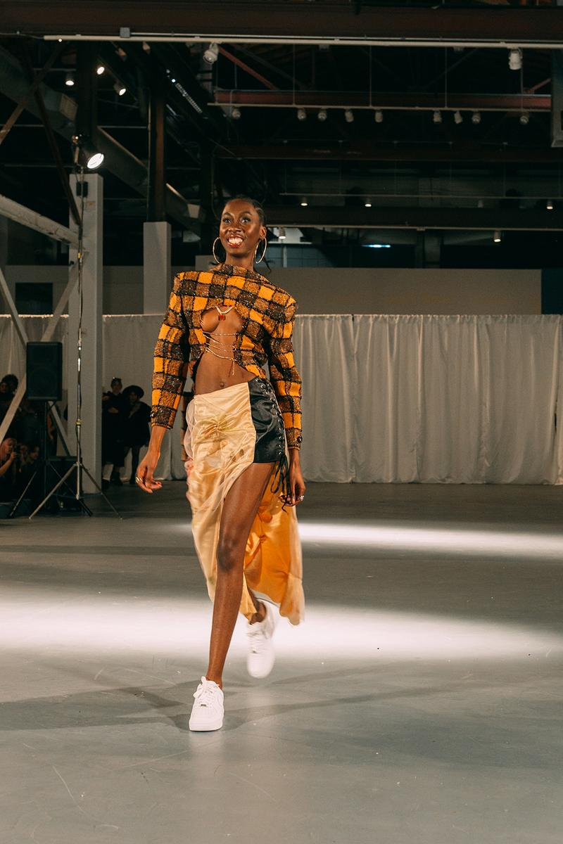 no sesso pierre davis arin hayes autumn randolph fall winter collection los angeles runway show skirts white sneakers