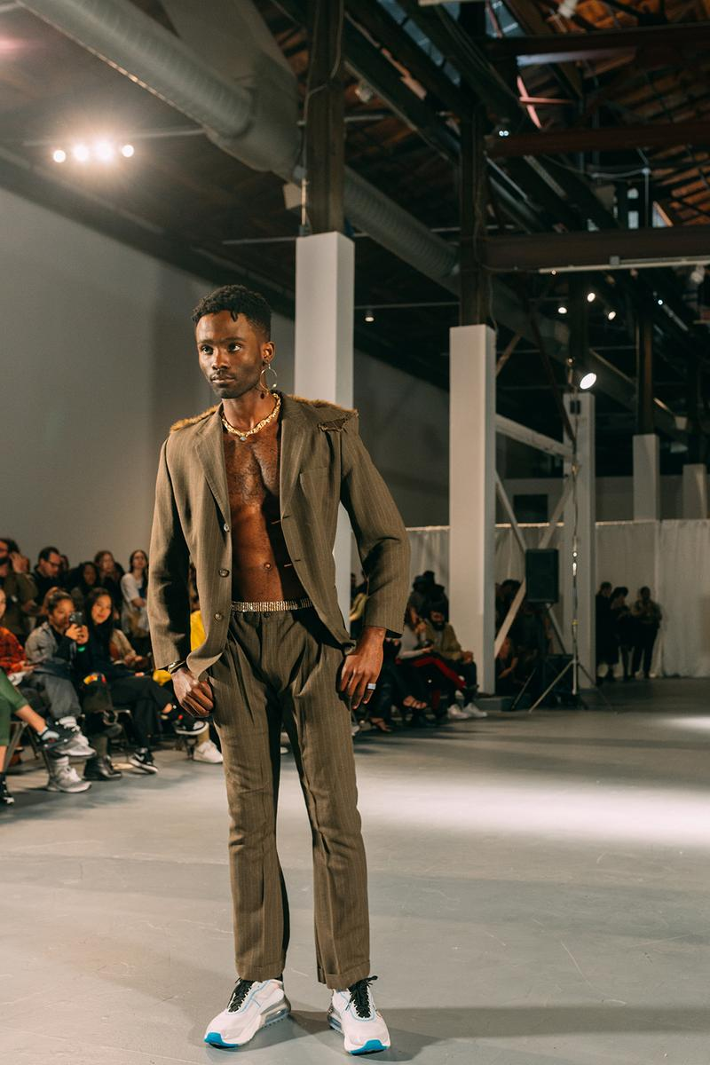 no sesso pierre davis arin hayes autumn randolph fall winter collection los angeles runway show jacket pants sneakers