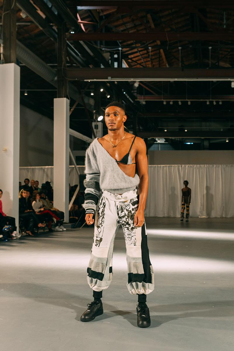 no sesso pierre davis arin hayes autumn randolph fall winter collection los angeles runway show sweater pants