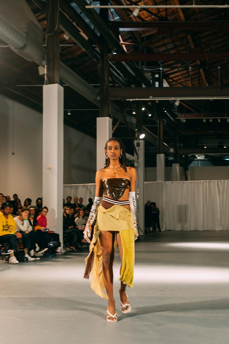 no sesso pierre davis arin hayes autumn randolph fall winter collection los angeles runway show tube top skirt heels