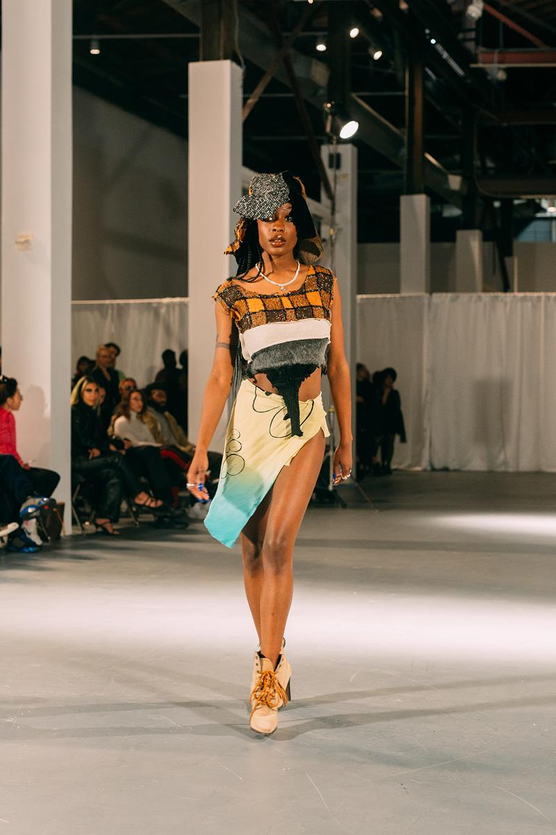 no sesso pierre davis arin hayes autumn randolph fall winter collection los angeles runway show skirt crop top