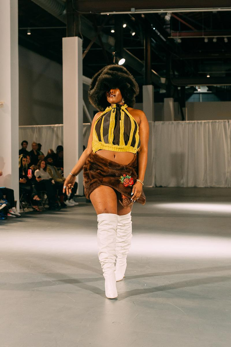 no sesso pierre davis arin hayes autumn randolph fall winter collection los angeles runway show crop top skirt white boots