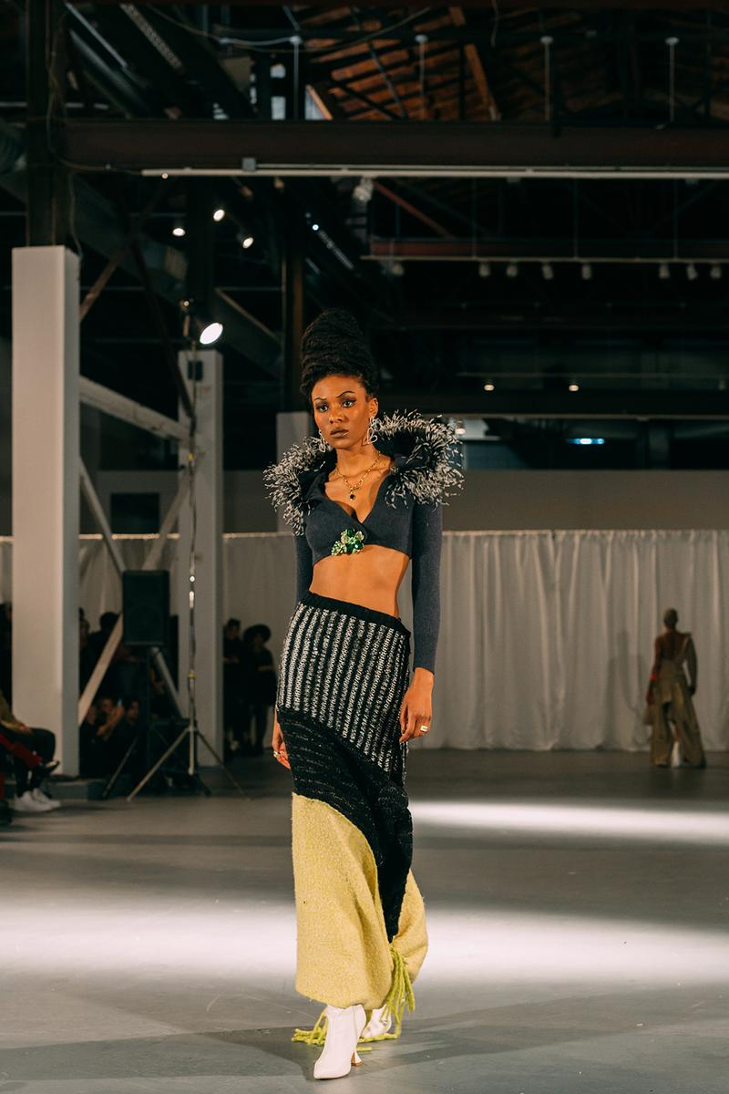 no sesso pierre davis arin hayes autumn randolph fall winter collection los angeles runway show crop long sleeve top feathers skirt