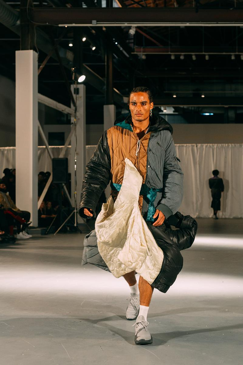 no sesso pierre davis arin hayes autumn randolph fall winter collection los angeles runway show jacket sneakers