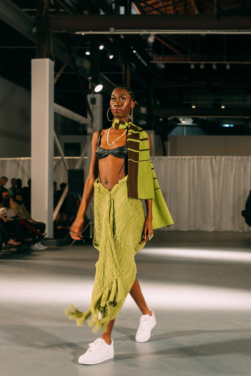 no sesso pierre davis arin hayes autumn randolph fall winter collection los angeles runway show skirt bra sneakers
