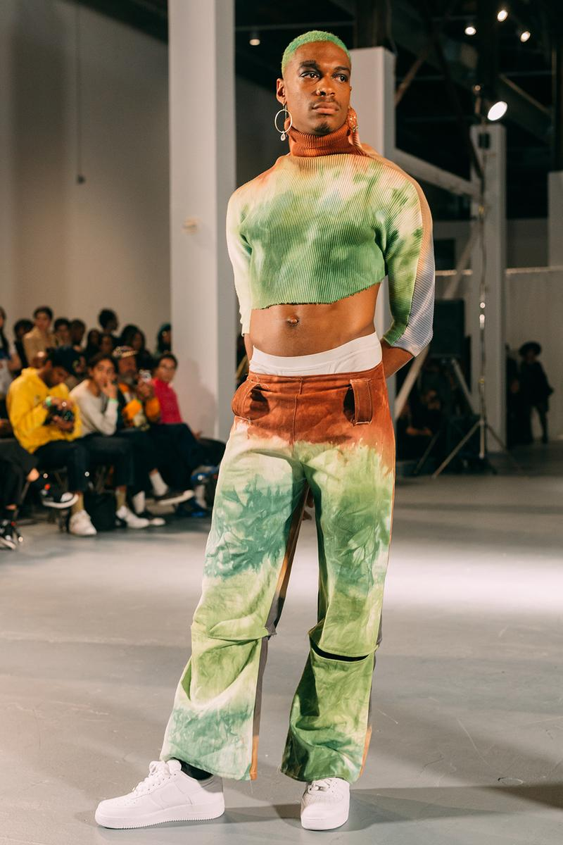 no sesso pierre davis arin hayes autumn randolph fall winter collection los angeles runway show pants sweat white sneakers