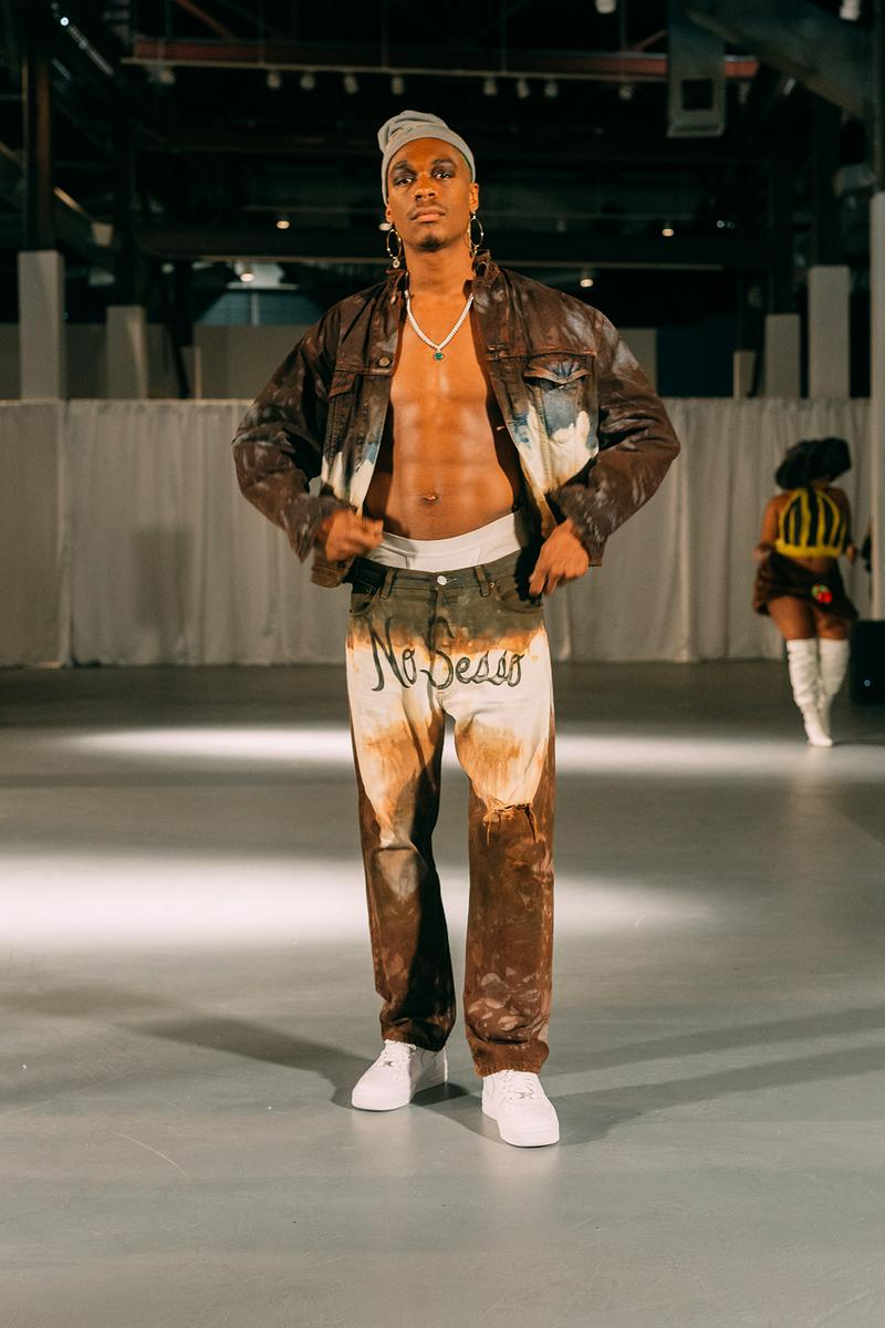 no sesso pierre davis arin hayes autumn randolph fall winter collection los angeles runway show jacket pants white sneakers