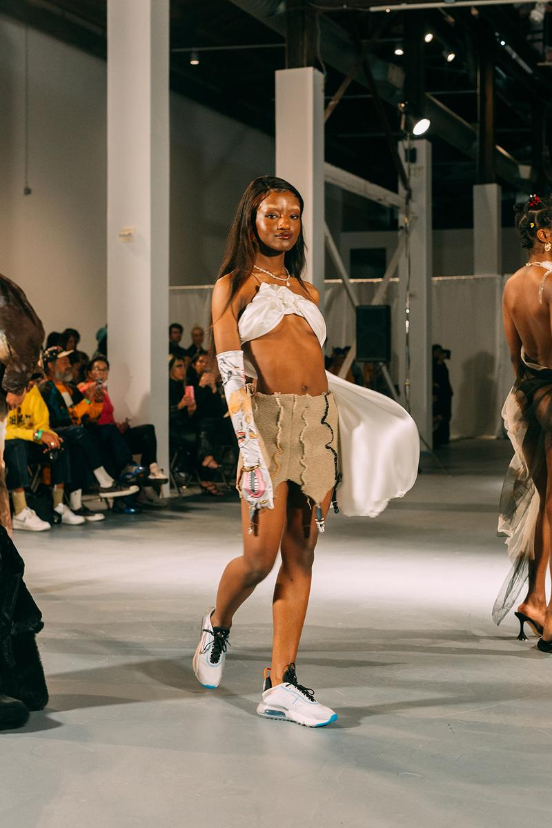 no sesso pierre davis arin hayes autumn randolph fall winter collection los angeles runway show skirt sneakers bralette gloves