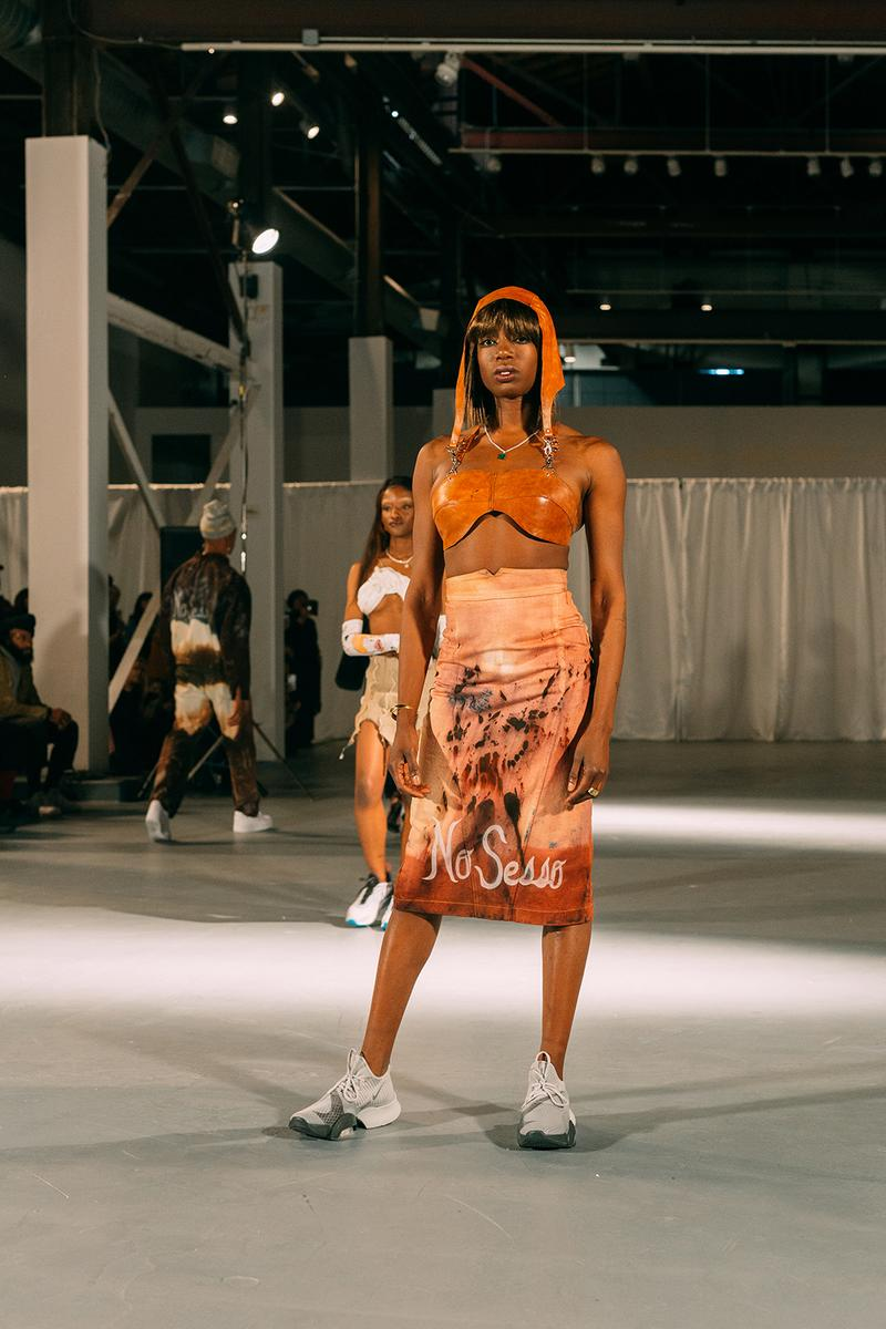 no sesso pierre davis arin hayes autumn randolph fall winter collection los angeles runway show bralette skirt sneakers