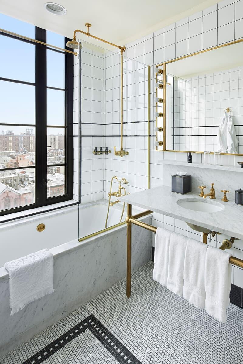 ludlow hotel bathroom new york city instagram nyc white walls gold view window