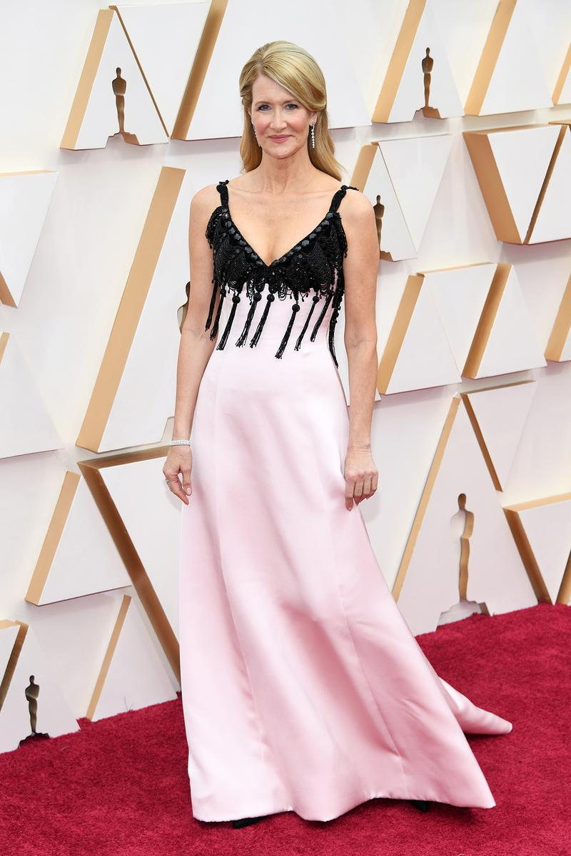 Laura Dern Pink Black Tassel Dress Gown Oscars Red Carpet 92nd Annual Academy Awards
