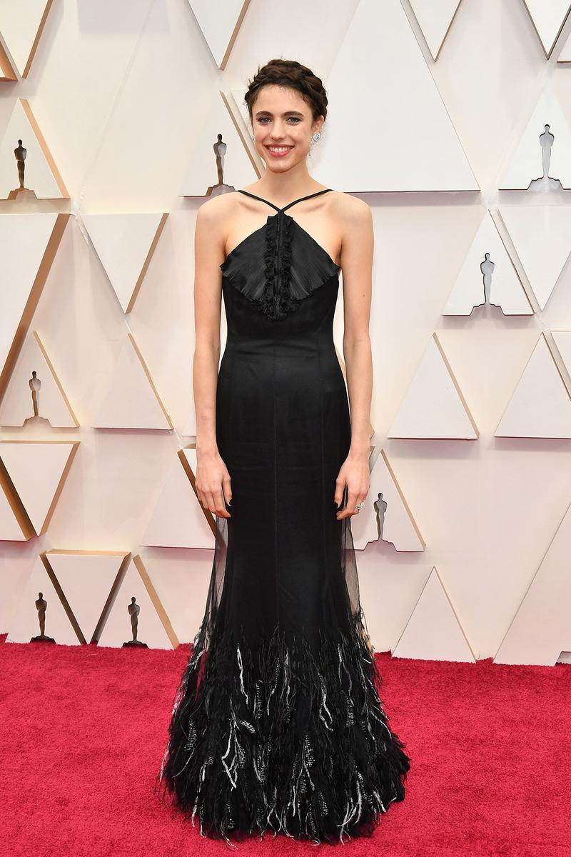 Margaret Qualley Black Dress Oscars Red Carpet 92nd Annual Academy Awards