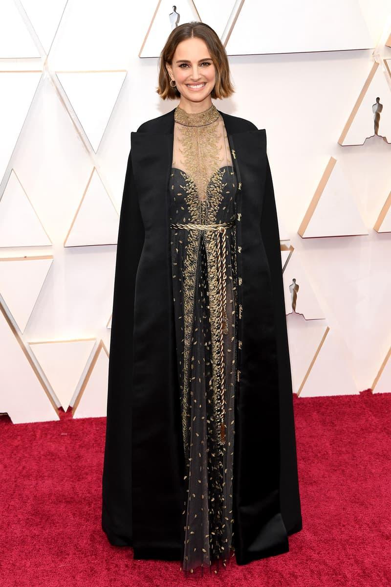 Natalie Portman Dior Dress Cape Oscars Red Carpet 92nd Annual Academy Awards