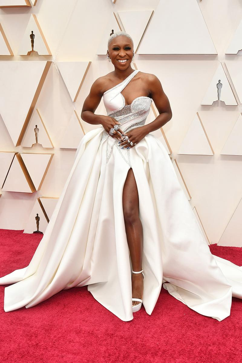Cynthia Erivo Versace Dress White Oscars Red Carpet 92nd Annual Academy Awards