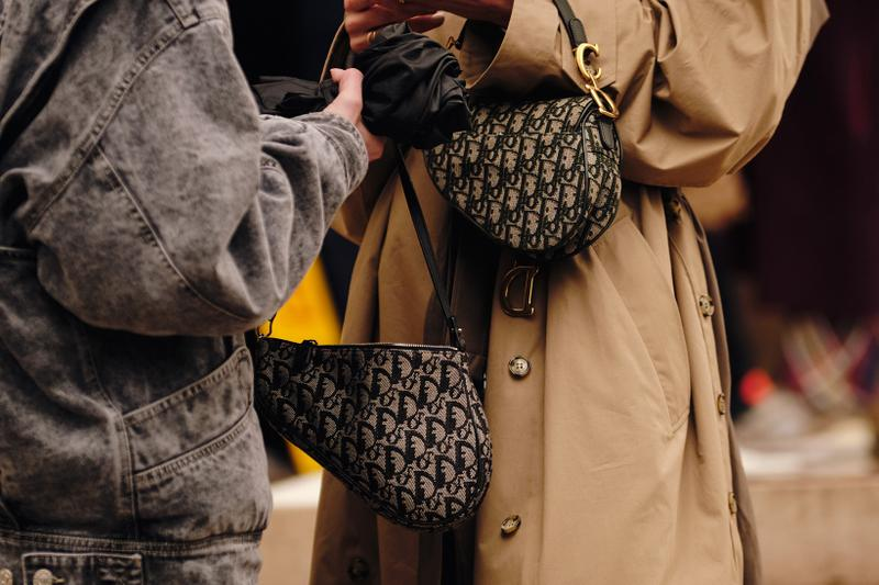 Paris Fashion Week Fall/Winter 2020 Street Style Dior Oblique Monogram Saddle Bag