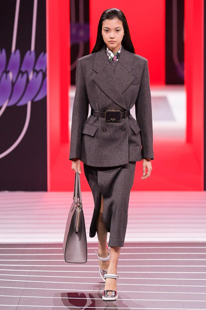 Prada Fall/Winter 2020 Collection Runway Show Suit Gray