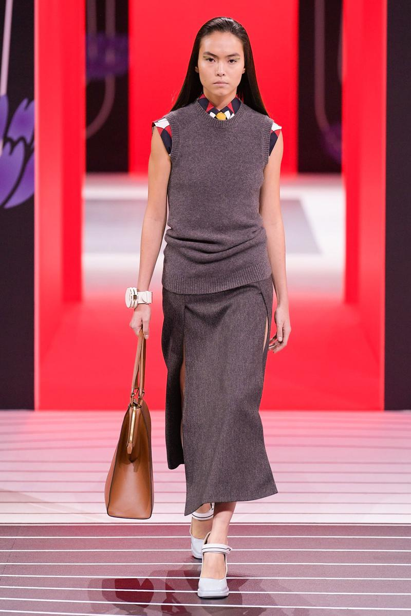Prada Fall/Winter 2020 Collection Runway Show Sweater Vest Skirt Grey