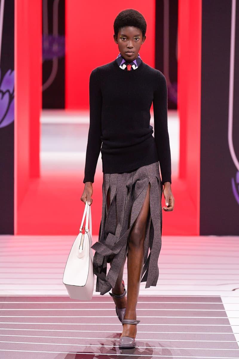 Prada Fall/Winter 2020 Collection Runway Show Sweater Black Fringe Skirt Grey