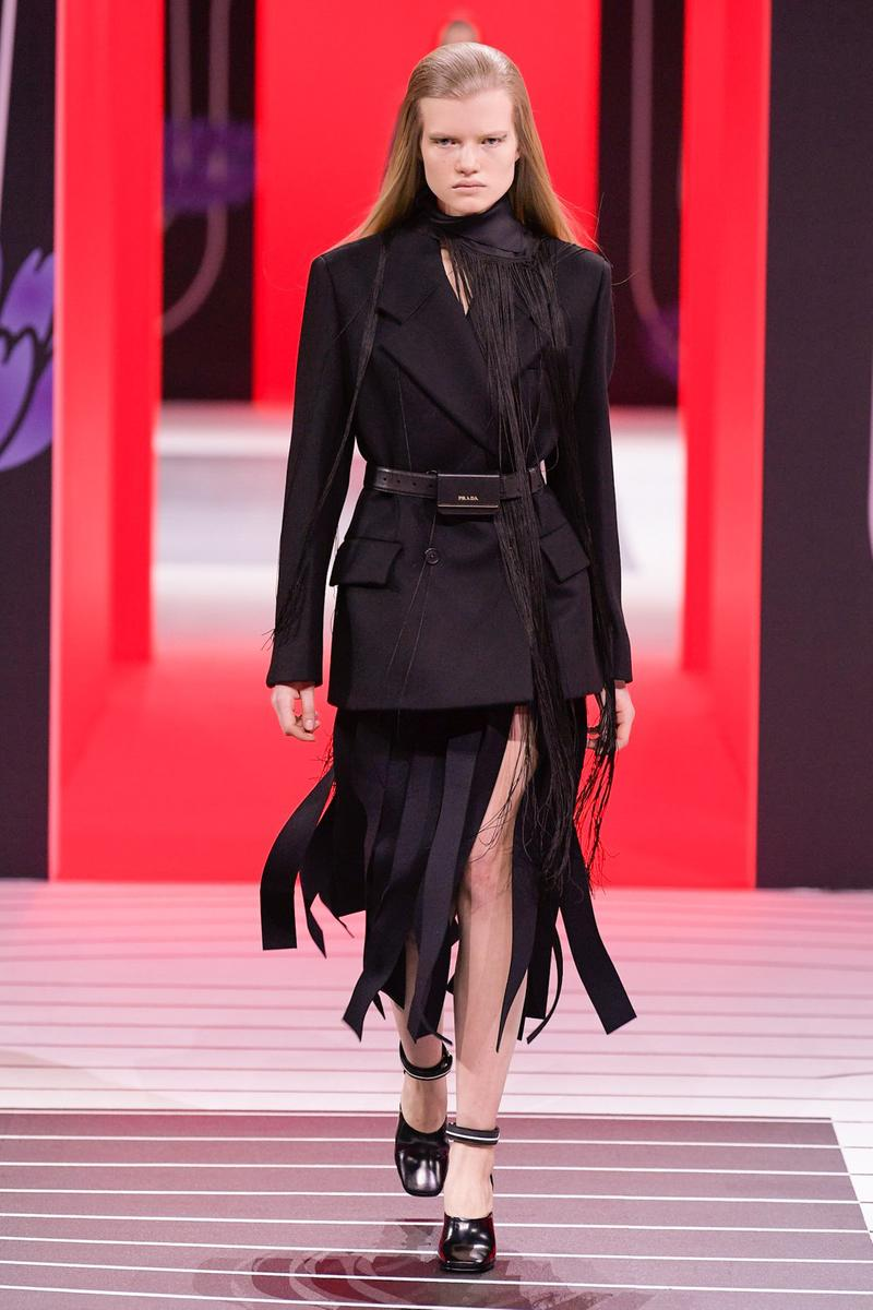 Prada Fall/Winter 2020 Collection Runway Show Fringe Skirt Black