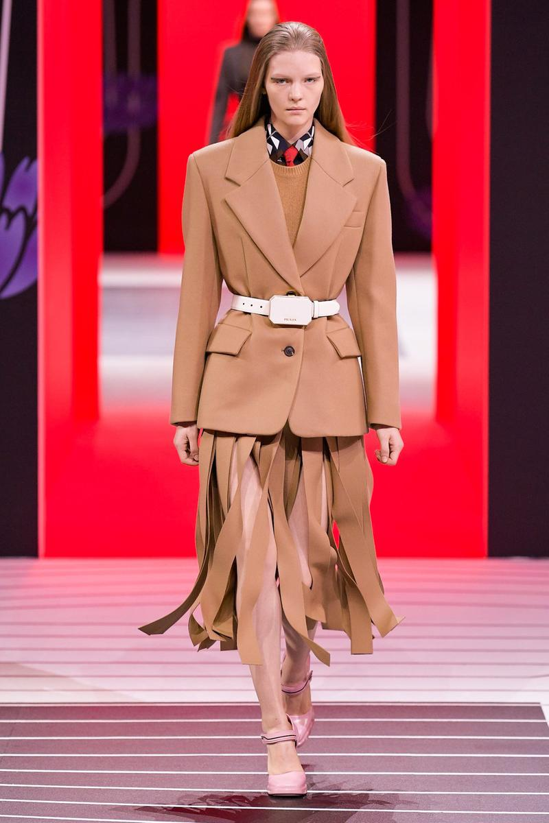 Prada Fall/Winter 2020 Collection Runway Show Fringe Skirt Jacket Brown