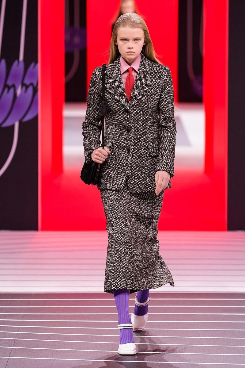 Prada Fall/Winter 2020 Collection Runway Show Tweed Jacket Skirt