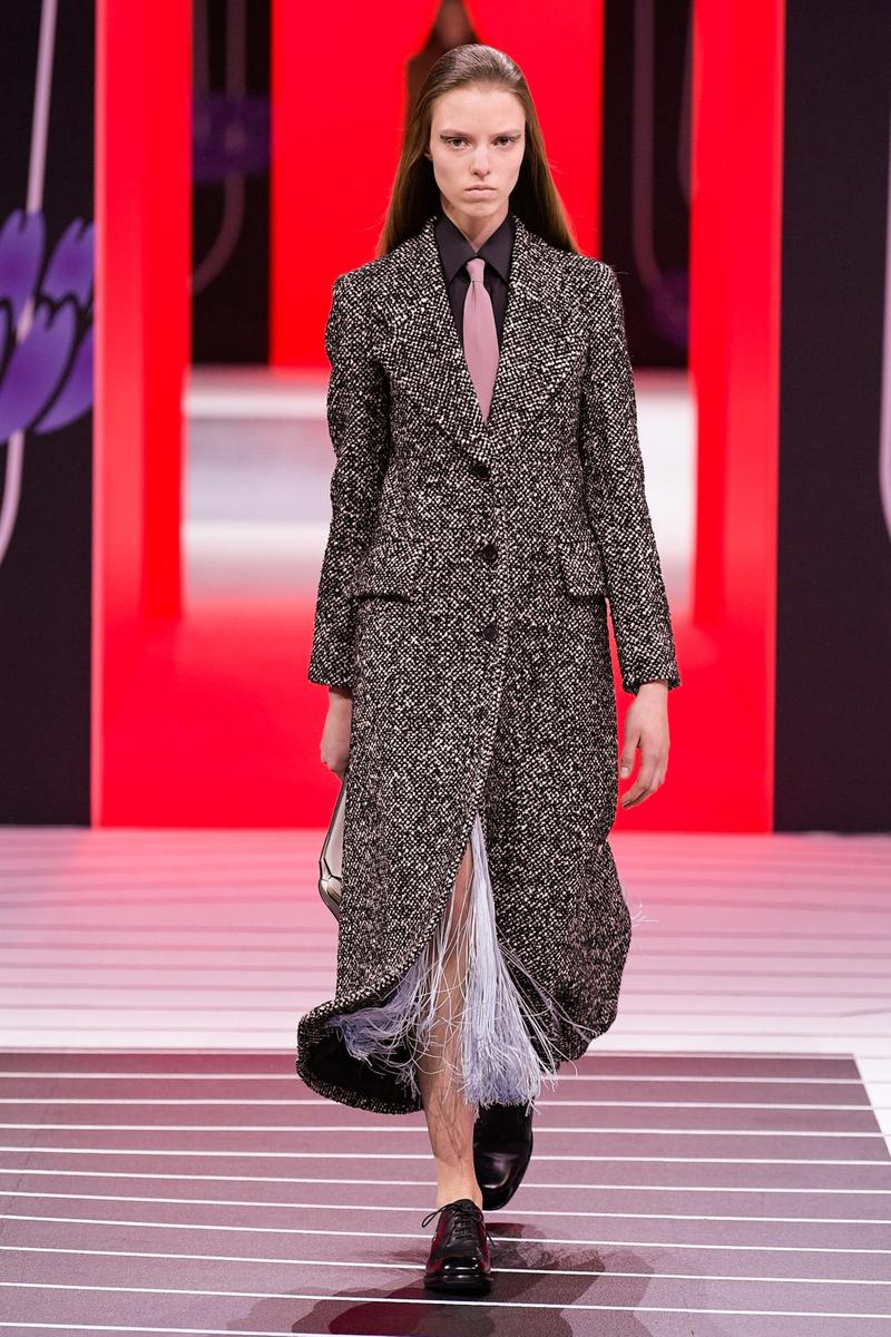 Prada Fall/Winter 2020 Collection Runway Show Tweed Coat