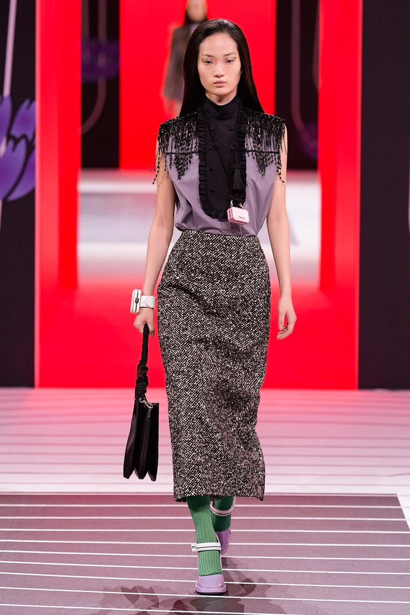 Prada Fall/Winter 2020 Collection Runway Show Tweed Skirt