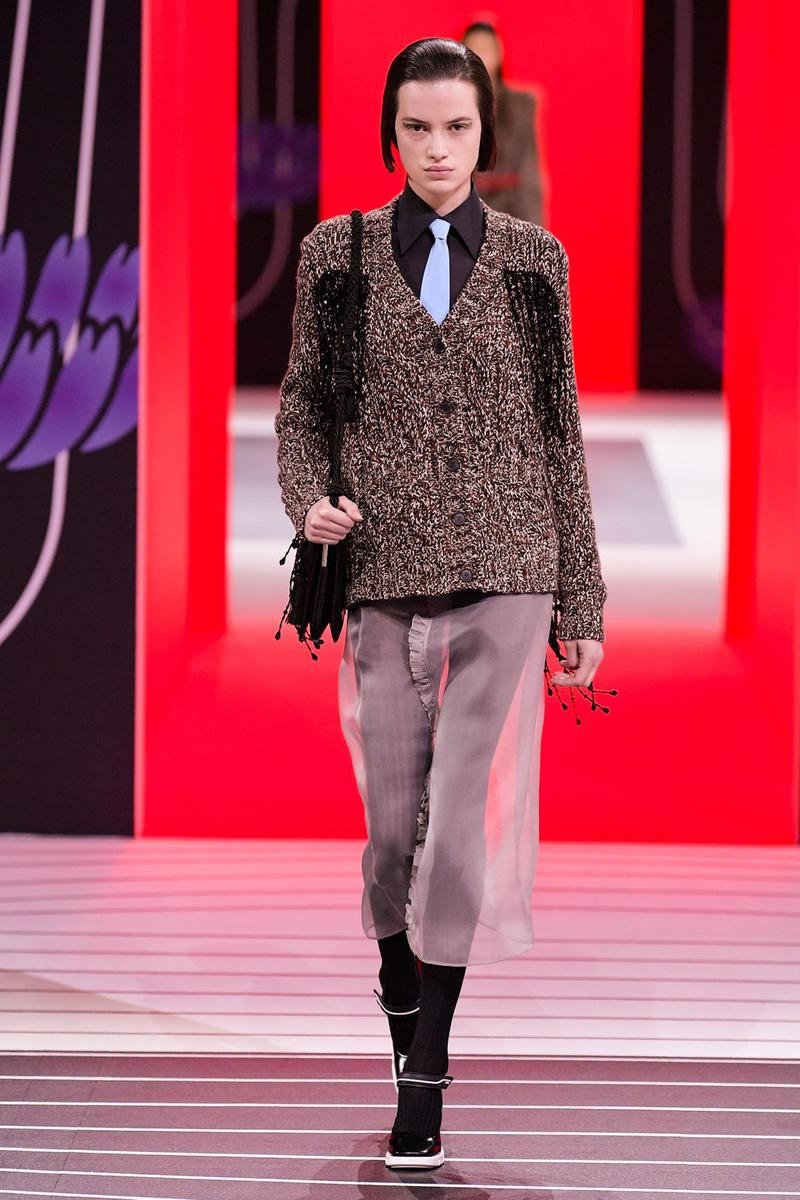 Prada Fall/Winter 2020 Collection Runway Show Tweed Cardigan