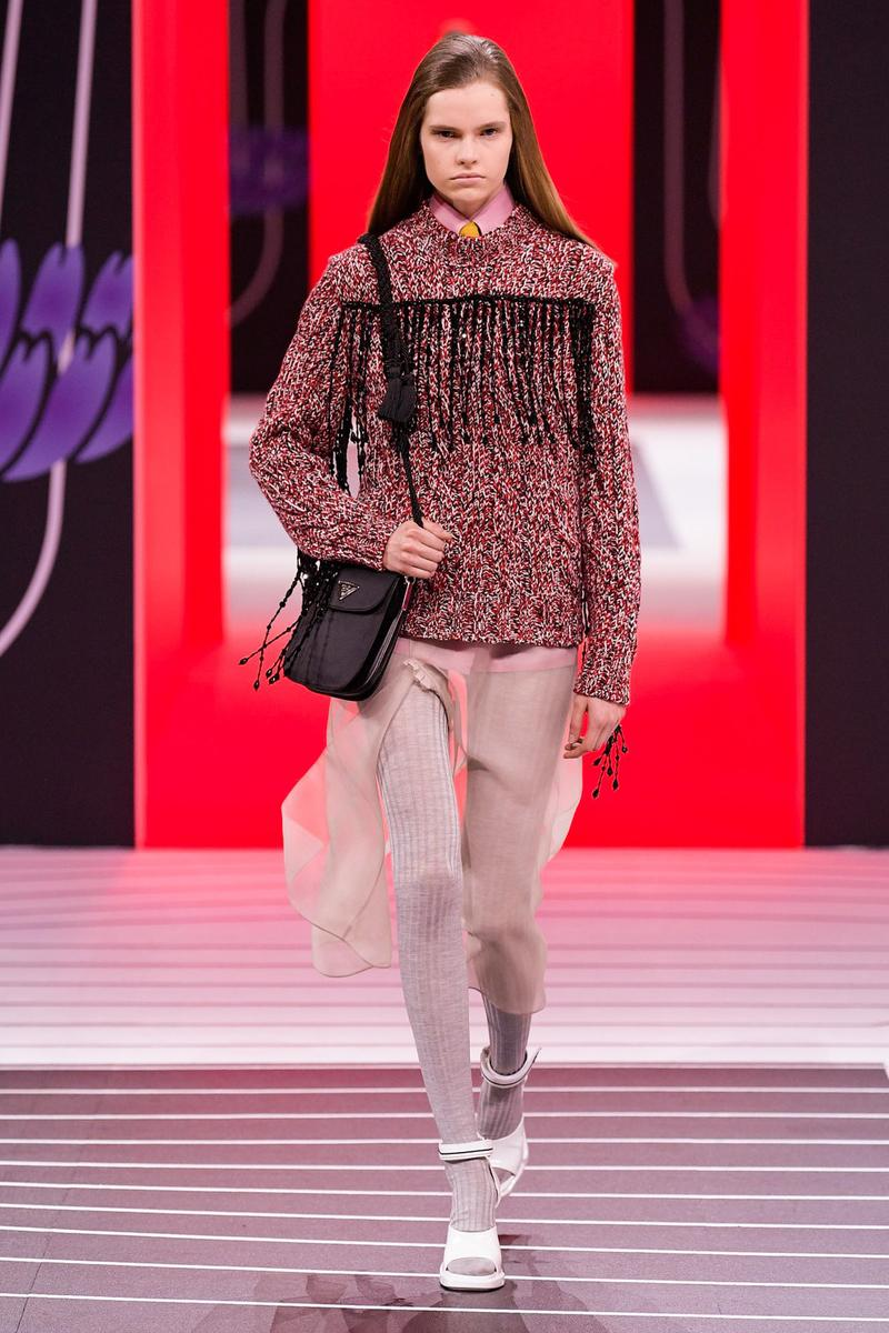 Prada Fall/Winter 2020 Collection Runway Show Fringe Tweed Sweater